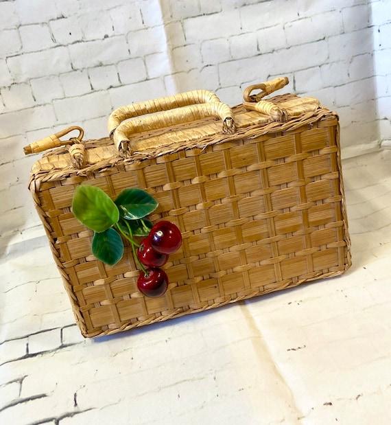 1950s Vintage Wicker Basket Cherry Bag, Basket Bag