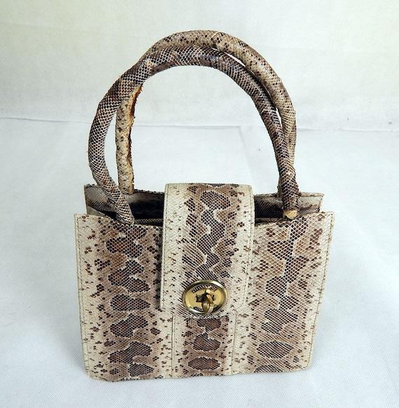 Original 1950s Vintage Python Skin Handbag Vintage