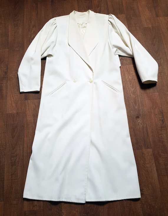 Vintage 80s White Overcoat | 1980s Vintage Long Wh