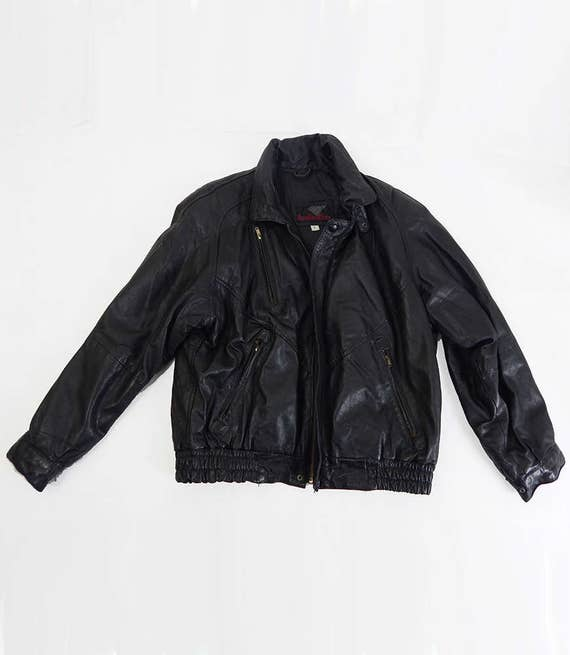 Vintage Leather Biker Jacket Size Large, Mens Vint