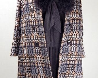 Original 1960s Vintage Geometric Faux Fur Collar Coat UK Size 14