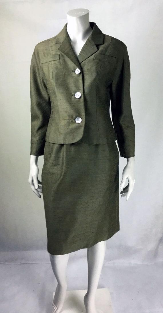 Original Vintage 1940s 2 Tone Khaki Slubbed Silk S