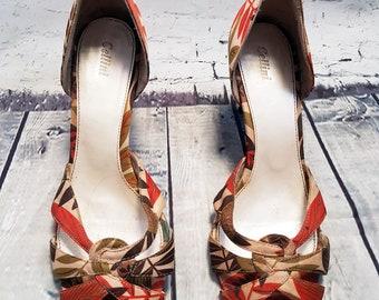 Vintage Shoes and Bag   1990s Vintage Autumn Leaves Strappy Heels & Clutch Bag UK 7 EUR 40 Vintage Fashion, Eco Friendly