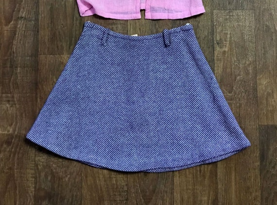 Original Vintage 1960s Striped Micro Mini Skirt UK