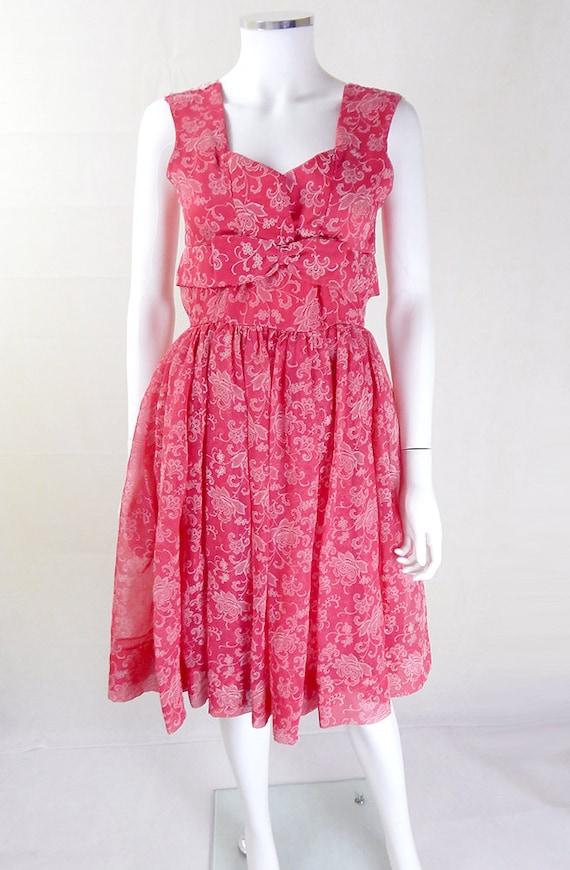 1950s Dress | Stunning Pink 1950's Vintage Floral