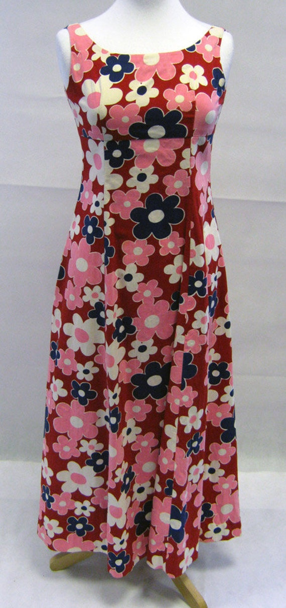 Vintage 1960s, Pink, Red & Blue Flower Power Maxi
