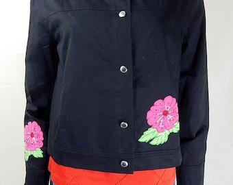 Original 1980s Vintage Escada Black Floral Patch Jacket UK Size 14