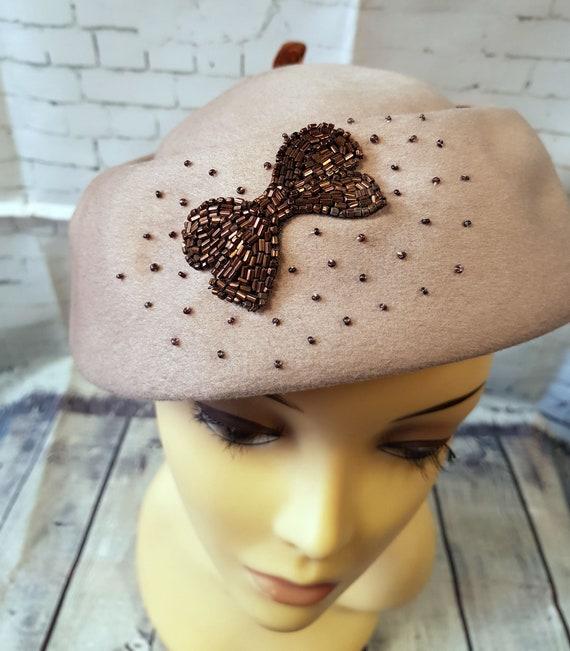 Vintage 1940s Hat | 1940s Vintage Jacoll Beaded Ha