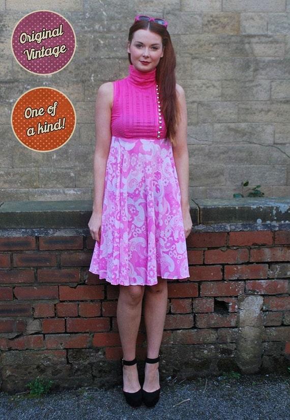 Designer Vintage 1960s Jean Varon Pink Floral Dres
