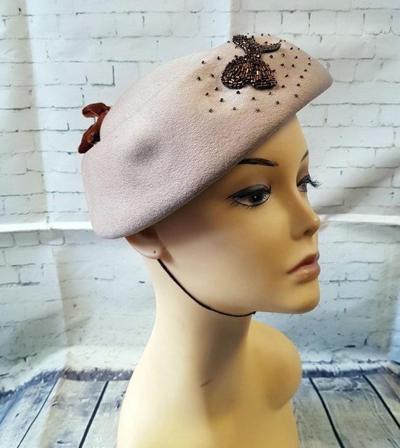 Vintage 1940s Hat   1940s Vintage Jacoll Beaded H… - image 2