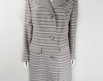 Original Vintage 1960s Beige and Brown Striped Coat UK Size 14/16