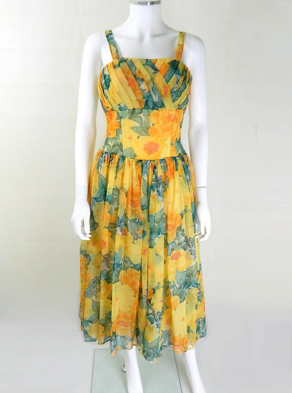 50s Vintage Dress | 1950s Vintage Yellow Floral Ch
