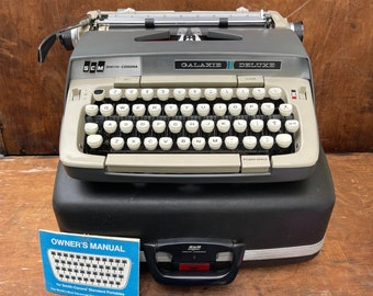 Vintage 1960s Smith Corona Galaxie Deluxe Typewriter | Working | Case, Manual & Ribbon Included| College Student Gift | Aspiring Writer