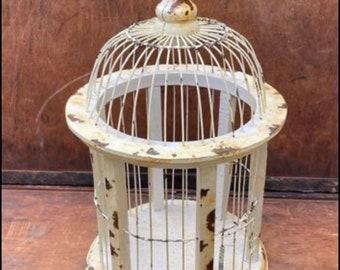 Vintage Metal Bird Cage | Shabby Chic Decor | Antique Cream Cage