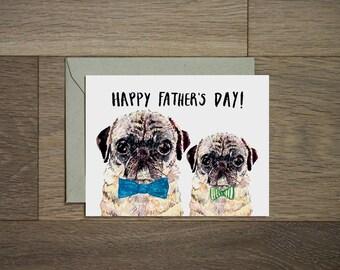 68beb920e1549 Fathers day card - pug dad - pug greeting card - fathers day pug card - pug  for life