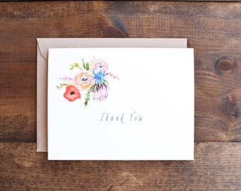 Thank you card with lovely and bright hand painted flowers, floral card blank inside flowers stationery