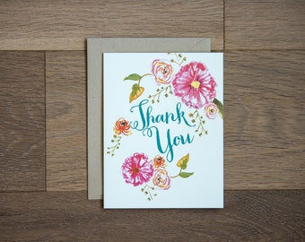 thank you card with lovely and bold hand painted flowers, floral card gouache pink green natural paper goods