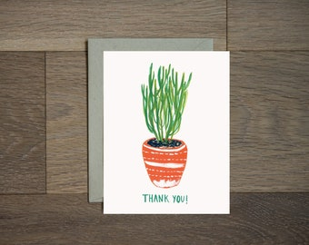 Thank you cactus card- botanical - hand painted - succulent - house plant