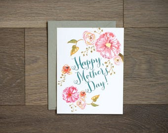 Mother's day card with beautiful painted flowers
