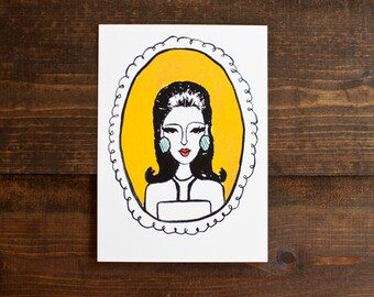 Quirky illustration of mod lady - fashion illustration - yellow - gold - black and white - art print -hostess gift