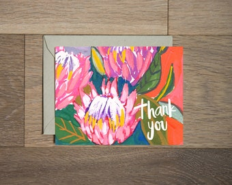 Thank you protea card- botanical - hand painted - protea flowers- bold print - red and pink - plant lady