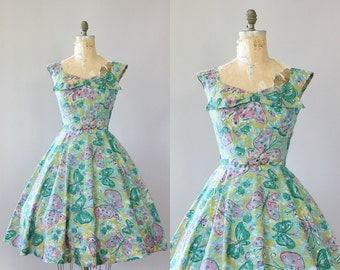 Vintage 50s Dress/ 1950s Cotton Dress/ Alix of Miami Green & Pink Butterfly Print Cotton Dress w/ Belt M