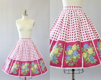 Vintage 50s Skirt/ 1950s Cotton Skirt/ Pink Checkered Cotton Skirt w/ Rose Print XS