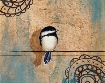 Chick #1...Bird on Wire Painting by Kimberly Fox...Canvas or Paper Print...Cheerful Home Decor...great for home or office