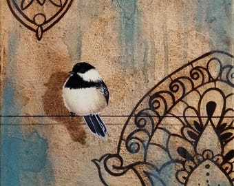 Chick #2...Bird on Wire Painting by Kimberly Fox...Canvas or Paper Print...Cheerful Home Decor...great for home or office