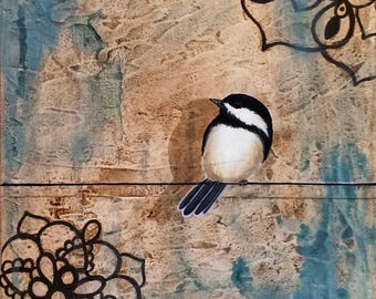 Chick #3...Bird on Wire Painting by Kimberly Fox...Canvas or Paper Print...Cheerful Home Decor...great for home or office