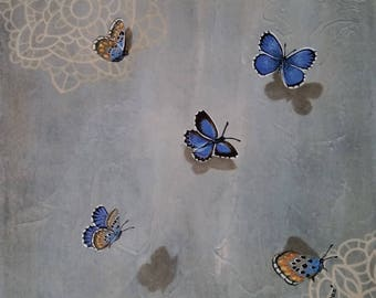 Flutter on Lace...Butterfly Painting by Kimberly Fox...Fine Art...Canvas or Paper Print...Cheerful Home Decor...great for home or office