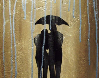 Rainy Day...Lover's Painting by Kimberly Fox...Canvas or Paper Print...Romantic Home Decor...great for bedroom or bath