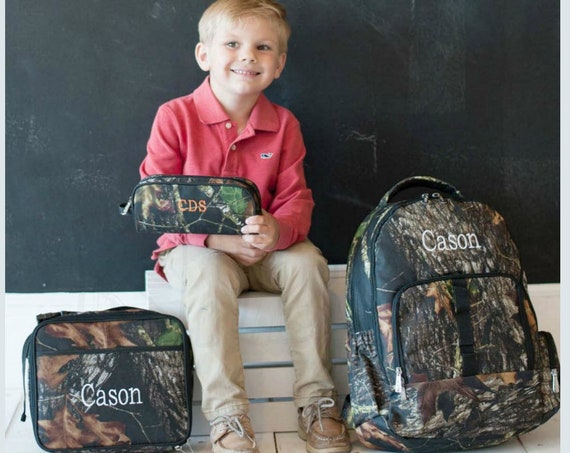 Boys Monogrammed Camouflage Backpack, Matching Lunchbox and Pencil Case can be purchased, Monogram Included, Camo bookbag, boys bookbag