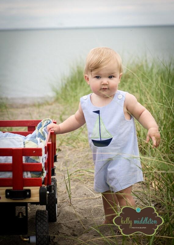 Blue Seersucker Sailboat Applique Jon Jon, Perfect for Family photos, Monogrammed Jon Jon, Monogrammed Romper, Boys Shortall