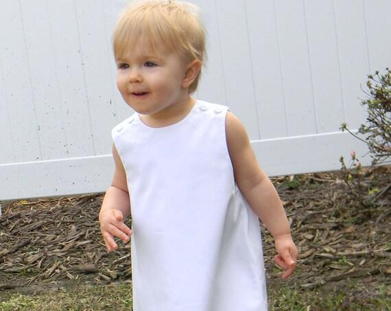 Girls White Pique Jumper Dress, Monogram it with purchase of Monogram Upgrade