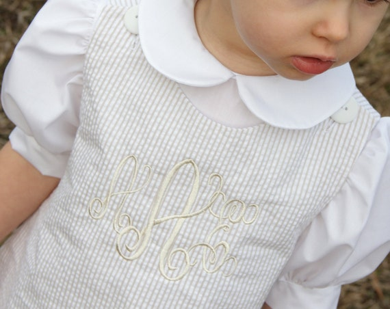 Khaki / Beige Seersucker Dress, Girl's Monogrammed Dress