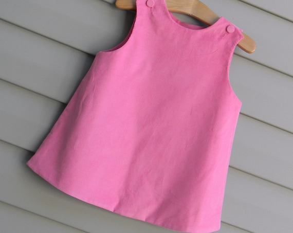 Girls Pink Corduroy Jumper Dress, Add Monogram with purchase of Monogram Upgrade