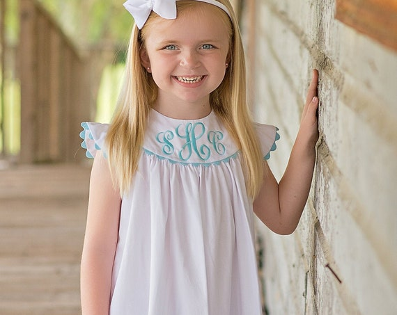 Girls Monogrammed White Pique Dress with Angel Sleeves, Choose Rick Rack Trim and Monogram Color, Monogram Included