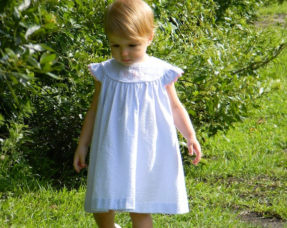 Girls Monogrammed Blue Seersucker Angel Sleeve Dress, Monogram Included, Girls Monogram Dress