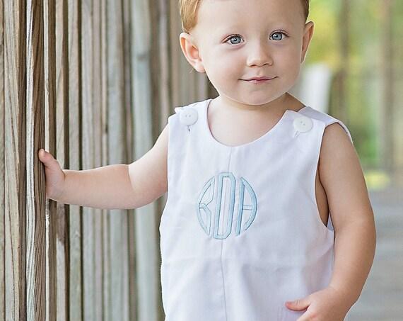 Boys Monogrammed White Jon Jon, Baby, Infant, Toddler Boys, Monogrammed Jon Jon, Monogrammed Boy Shortall, Matching girls dress available