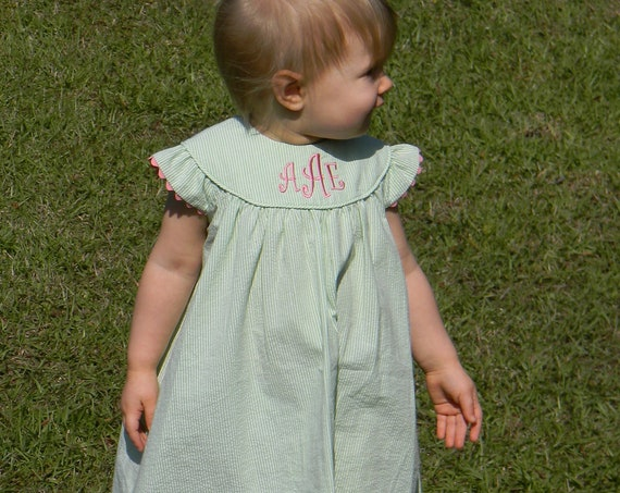 Monogrammed Green Seersucker Angel Sleeve Dress, Girls Green Seersucker Dress