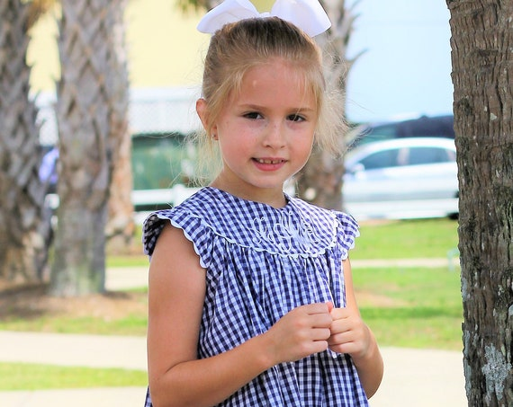 Girls Monogrammed Navy Gingham Check Dress,  Perfect for Family Beach Photos, Monogrammed Dresses, Girls Dress