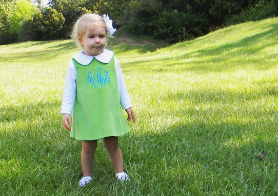 Girls Monogrammed Green Corduroy Dress