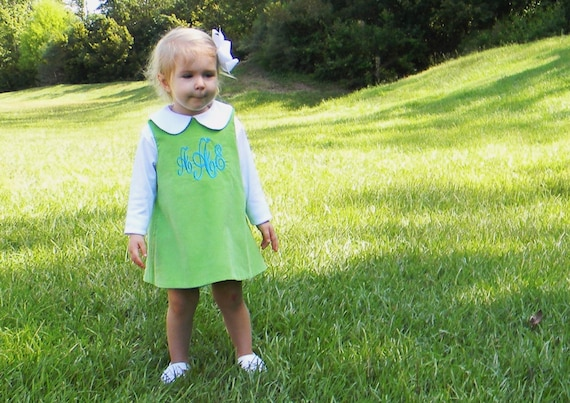 Girls Monogrammed Green Corduroy Dress