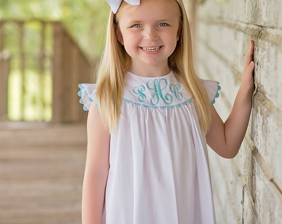 Girls Monogrammed White Pique Dress with Angel Sleeves, Change or Choose Rick Rack Trim and Monogram Color