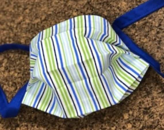 Face Masks / Face Coverings Blue Green White Stripe Cotton Quilting Fabric. (not to be worn for anyone under the age of 2)