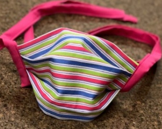 Face Masks / Face Coverings Pink Blue Green White Stripe Cotton Quilting Fabric. (not to be worn for anyone under the age of 2)