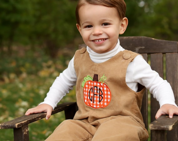 Boys Pumpkin Longall, Boys Thanksgiving Romper, Perfect for Fall and Thanksgiving