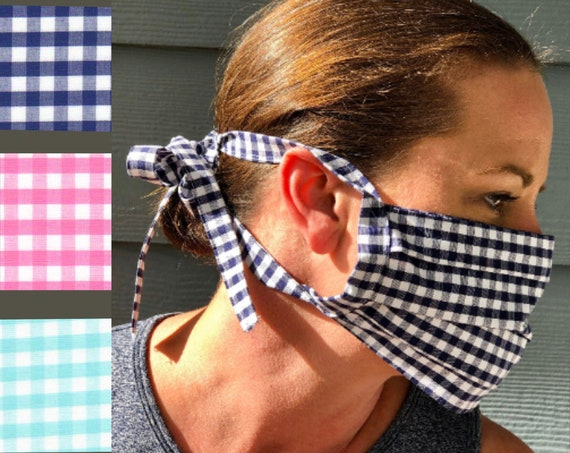 Face Masks / Face Coverings Navy, Pink, or Mint Gingham Check Cotton Quilting Fabric. (not to be worn for anyone under the age of 2)