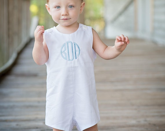 Boys Monogrammed White Jon Jon, Baby, Infant, Toddler Boys, Monogrammed Jon Jon, Monogrammed Boy Shortall, Matching girls dress available